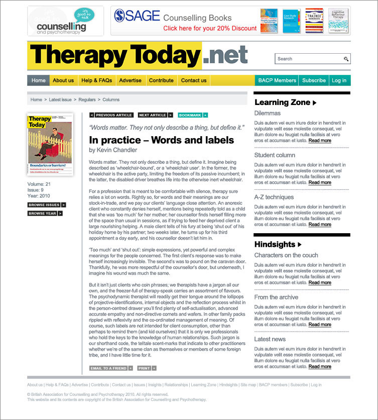 Therapy Today: Online Journal Website