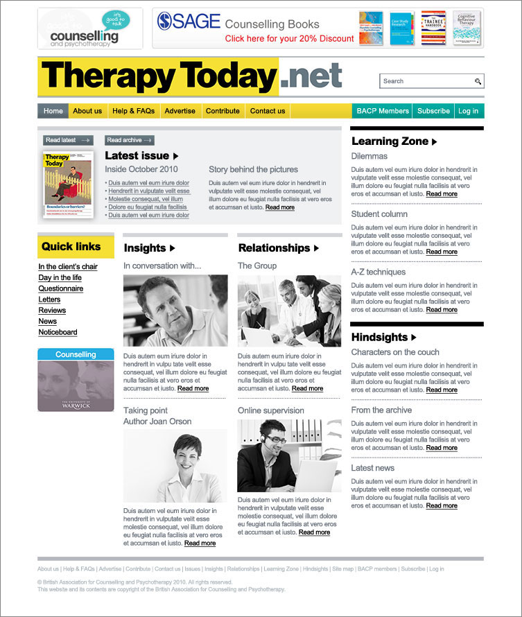 Therapy Today: Online Journal Website homepage